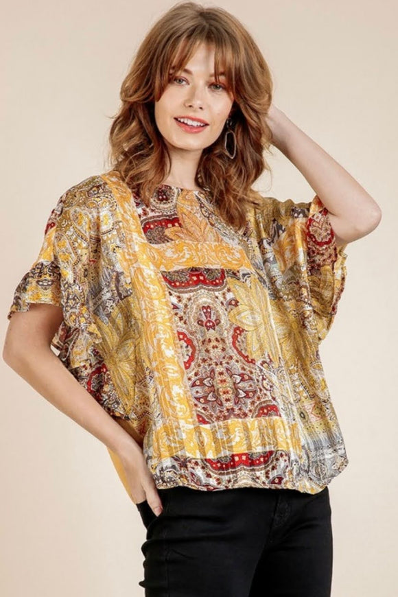 Paisley+Honey Metallic Accent Top