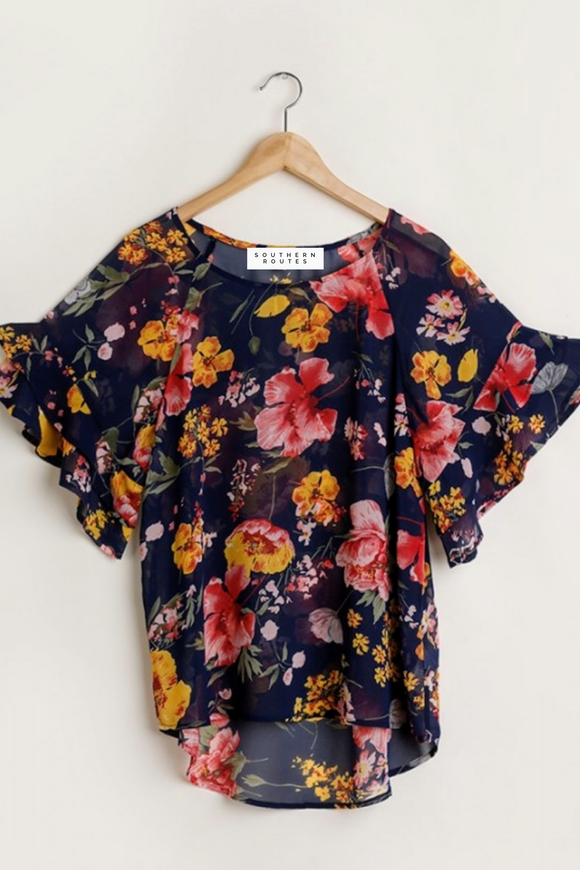 Navy+Floral Sheer Top