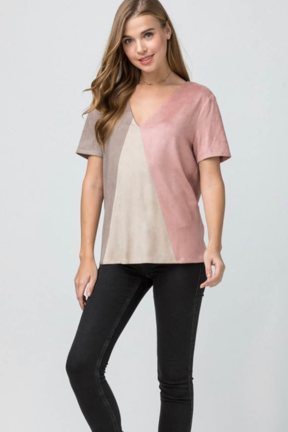 Faux Suede Mauve+Mix Top