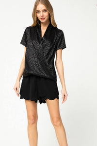 Black+Satin Leopard Surplice Top