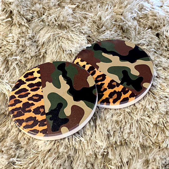 Car Coasters | Camo+Leopard