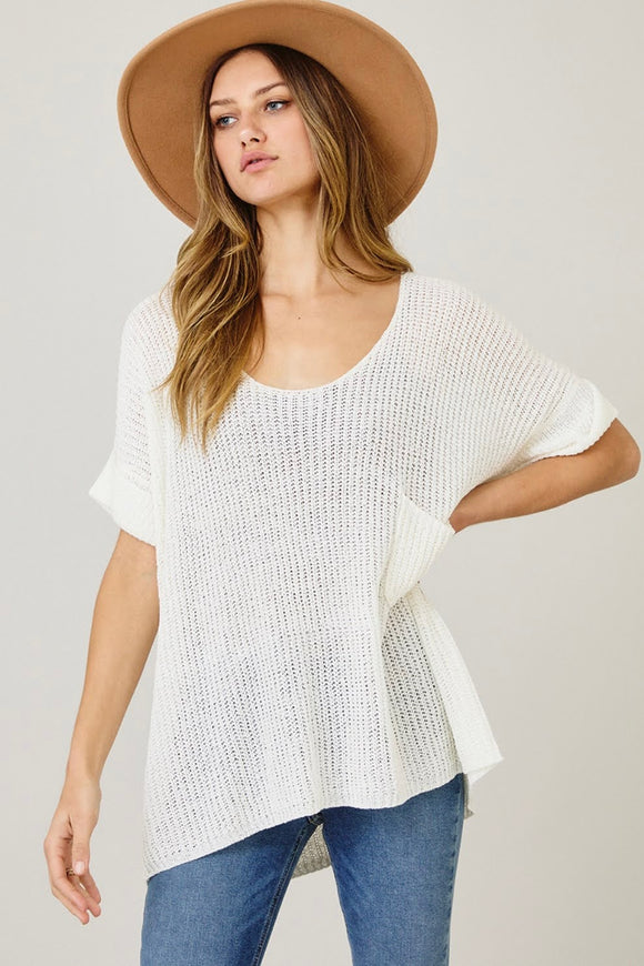 Relaxed Fit Semi Sheer Top | Off White