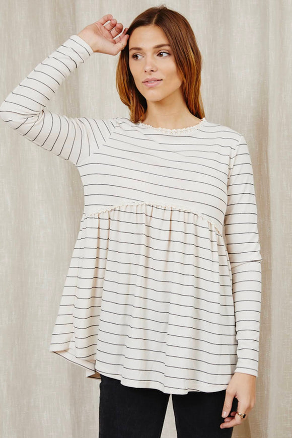 Cream+Stripe Babydoll Top