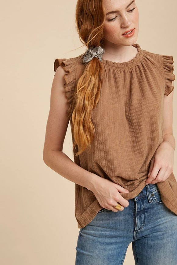 Camel Shirred Top