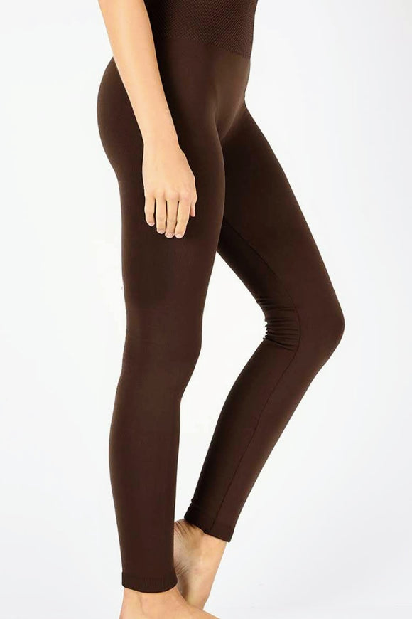 Fleece Lined Leggings | Brown