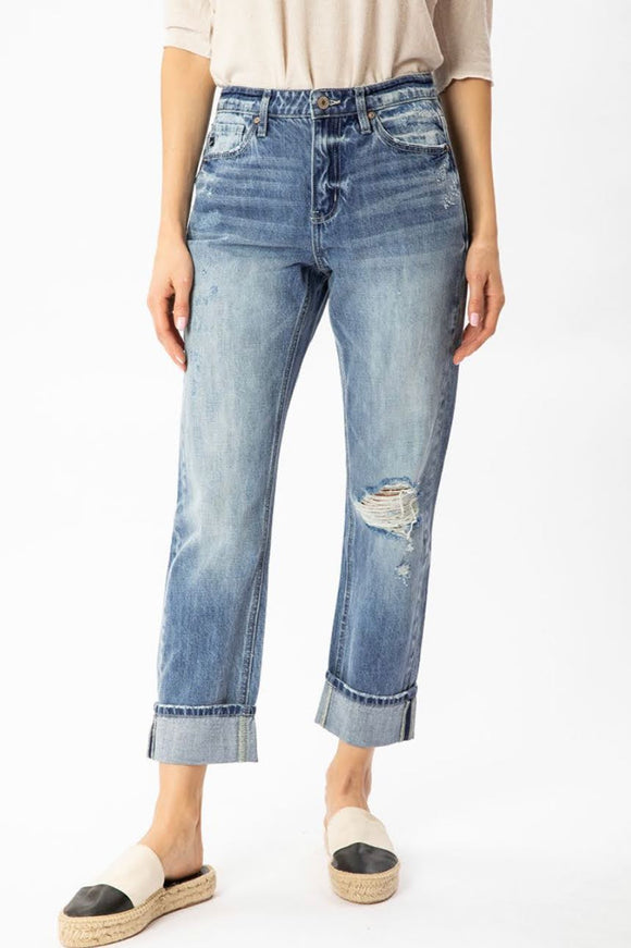 The Meredith Cuffed Straight Jeans | KanCan