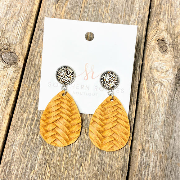 Leopard+Braided Dangle Earrings | Mustard