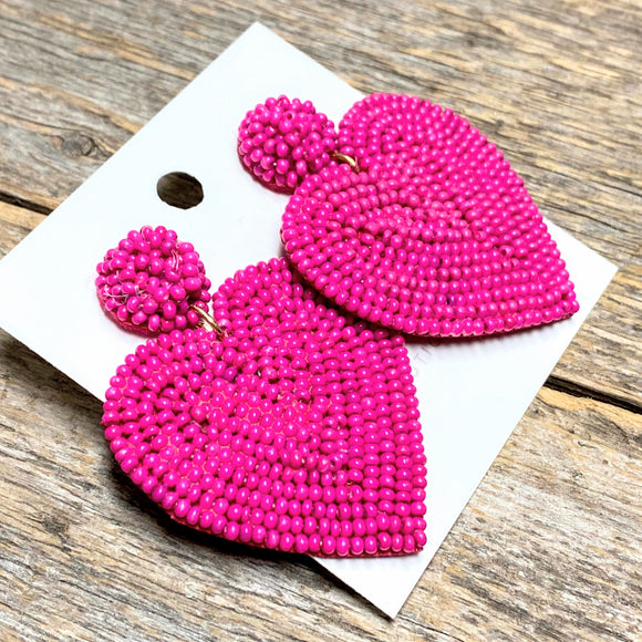 Fuchsia Heart Seed Bead Earrings