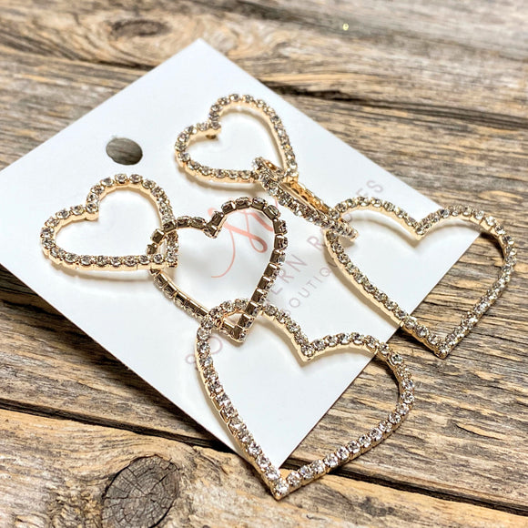 Crystal Trio Heart Earrings | Gold