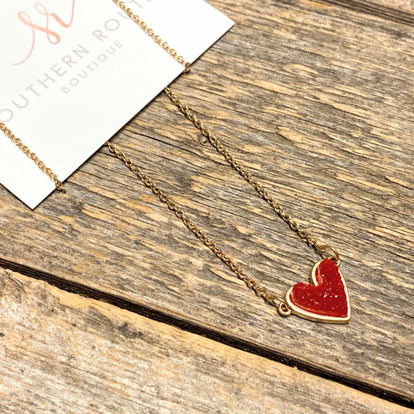 Red Heart Drusy Necklace