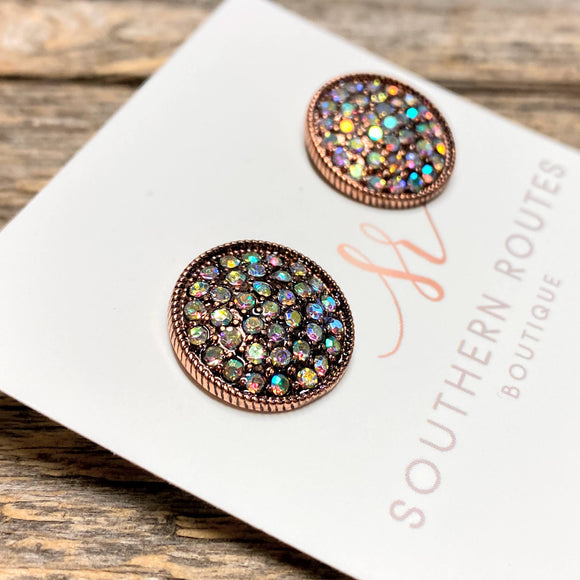Iridescent Crystal Stud Earrings | Copper