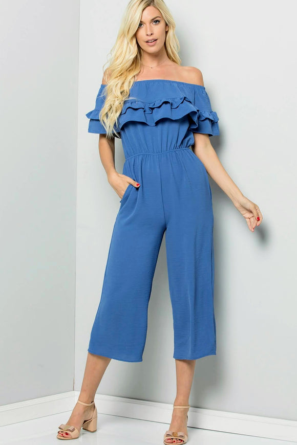 Ruffle+Blue Jumpsuit