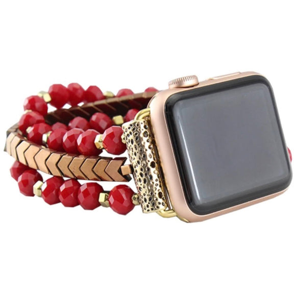 38/40MM Beaded Watch Band | Red+Gold