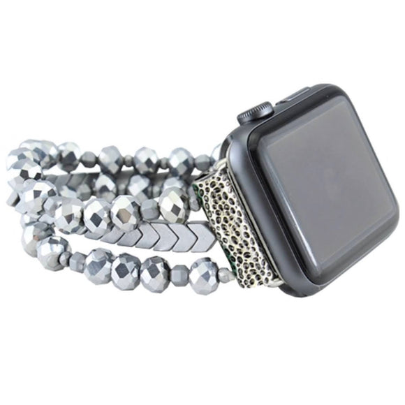38/40MM Beaded Watch Band | Silver