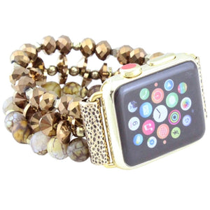 38/40MM Beaded Watch Band | Brown+Gold