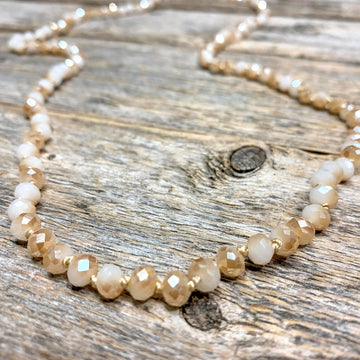 Long Beaded Necklace | Champagne