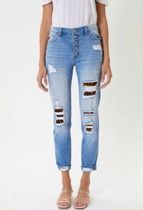 KanCan LEOPARD PATCH Classic Skinny Jeans