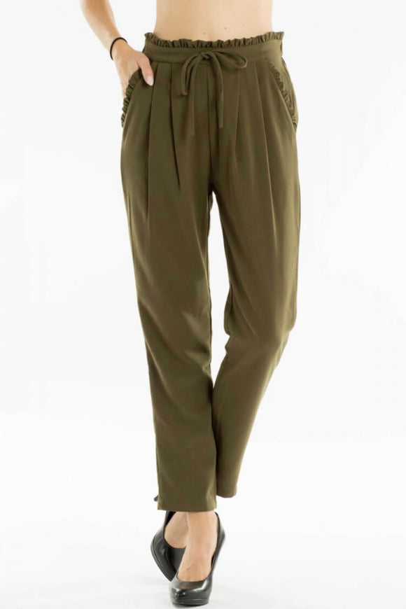 KanCan Olive Shirred Pants