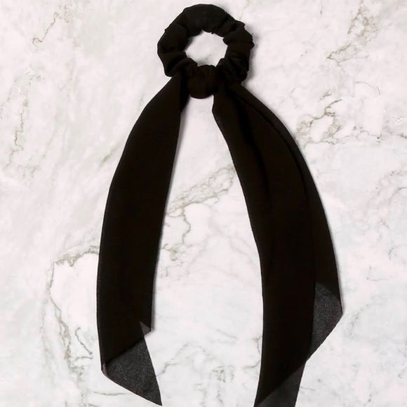 Ponytail Hair Scrunchie+Scarf | Black