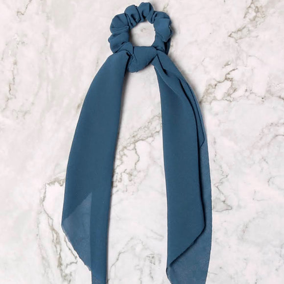 Ponytail Hair Scrunchie+Scarf | Dusty Blue