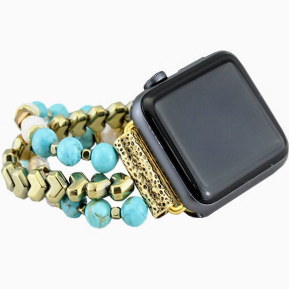 38/40MM Beaded Watch Band | Turquoise+Gold
