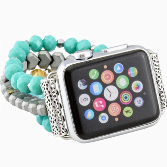 38/40MM Beaded Watch Band | Turquoise+Silver