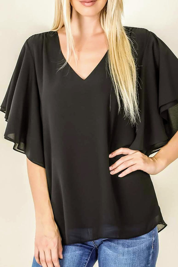 Black Flowy Top
