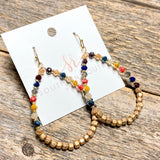 Multi Crystal+Gold Teardrop Earrings
