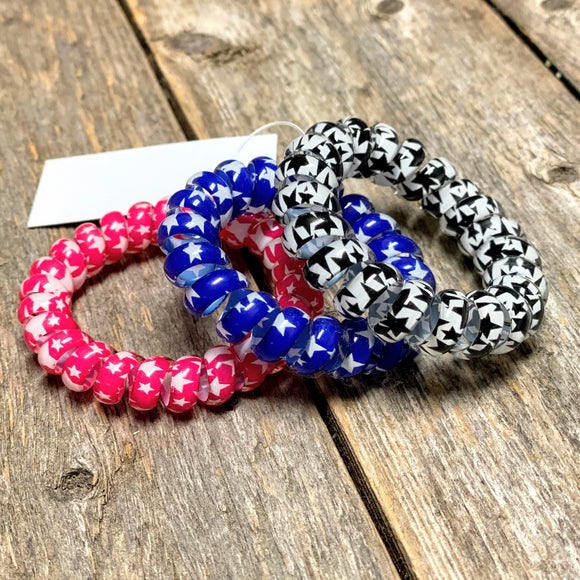 Star Cord Hair Ties | Black+Pink+Blue