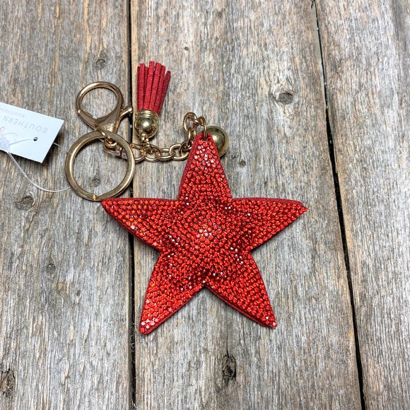 Bling Red Star Key Ring