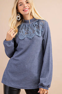 Dusty Blue Mock Neck Top