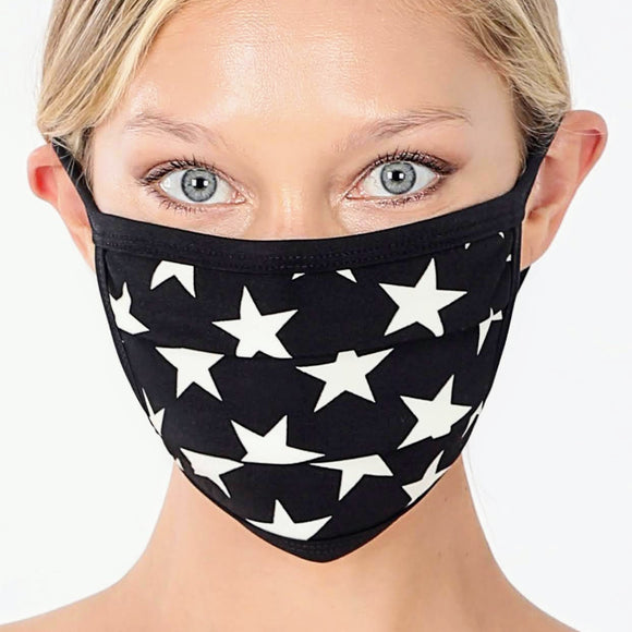 Cotton Mask | Black+White Stars