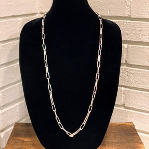 Long Open Link Chain Necklace | Silver