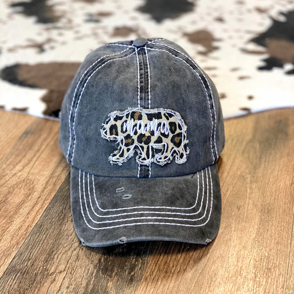 Mama Bear Leopard Patch Cap