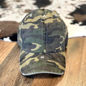 Distressed Olive Camo Cap