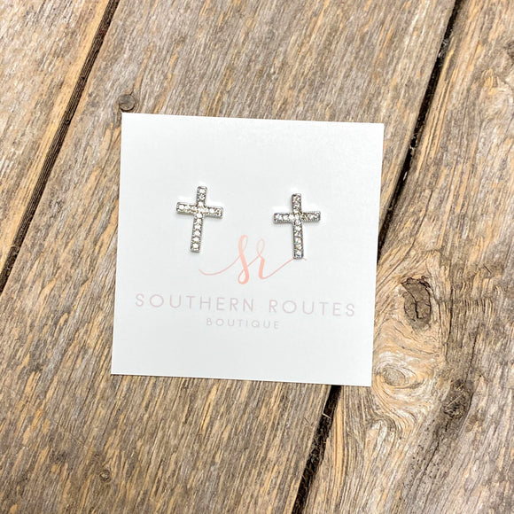 Silver+Crystal Cross Stud Earrings
