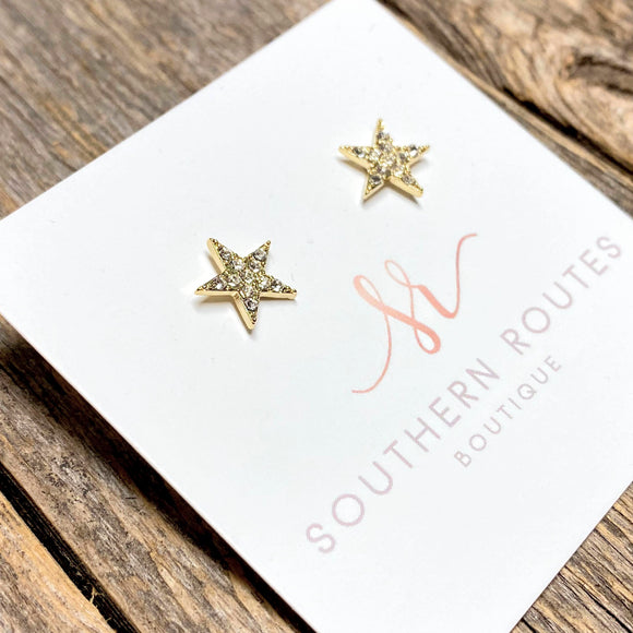 Crystal Star Stud Earrings | Gold