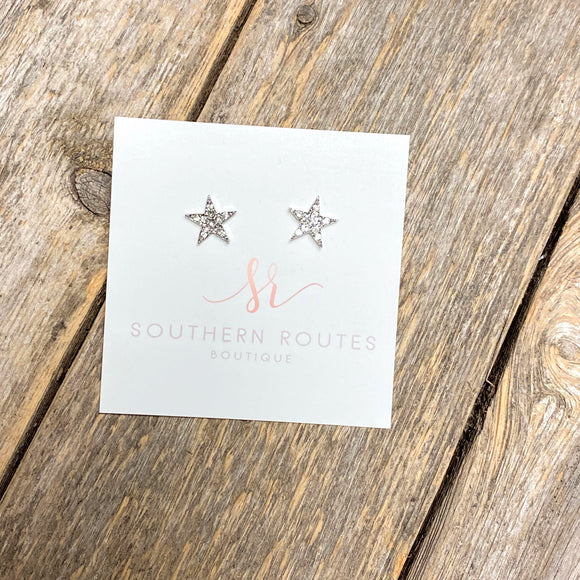Crystal Star Stud Earrings | Silver