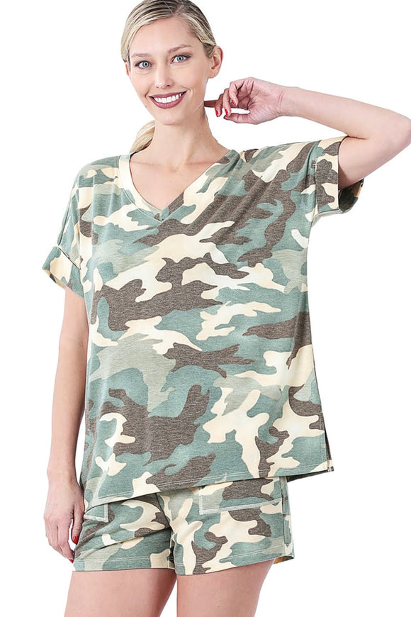 Green Camo Loungewear Set