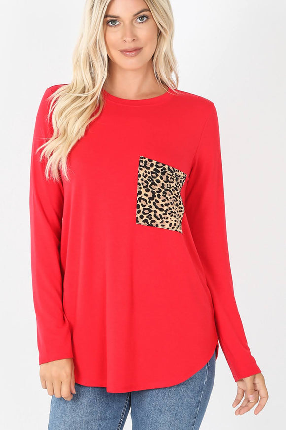 Leopard Pocket Top | Red
