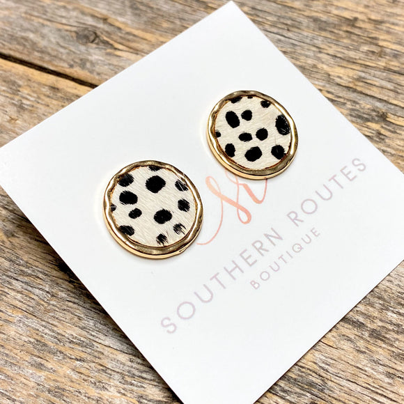 Circular Hide Earrings | White Cheetah
