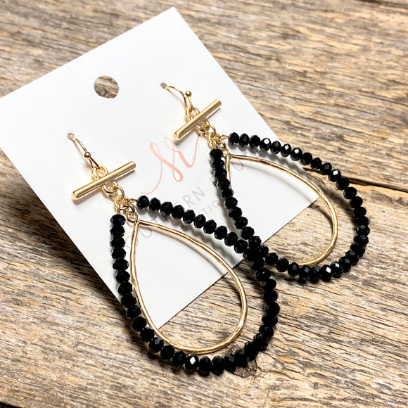 Bar Beaded Teardrop Earrings | Black