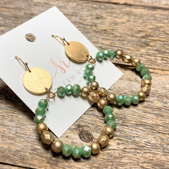 Beaded Circle Earrings | Jade