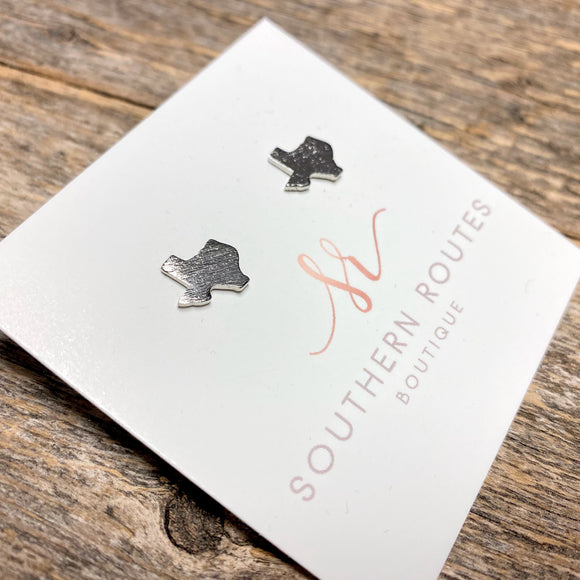 Brushed Texas Stud Earrings | Silver