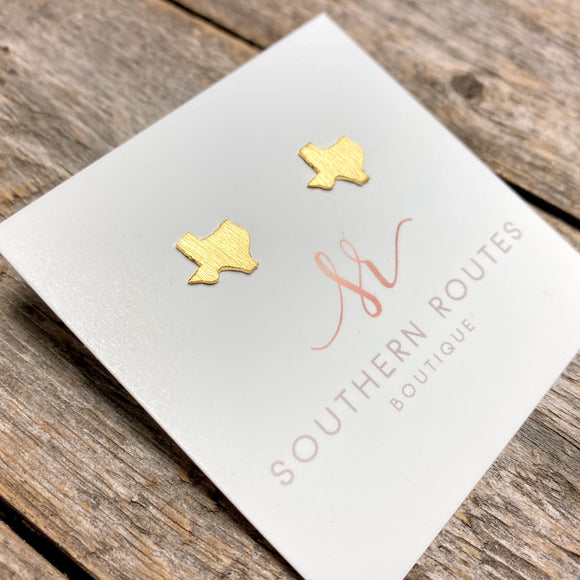 Brushed Texas Stud Earrings | Gold