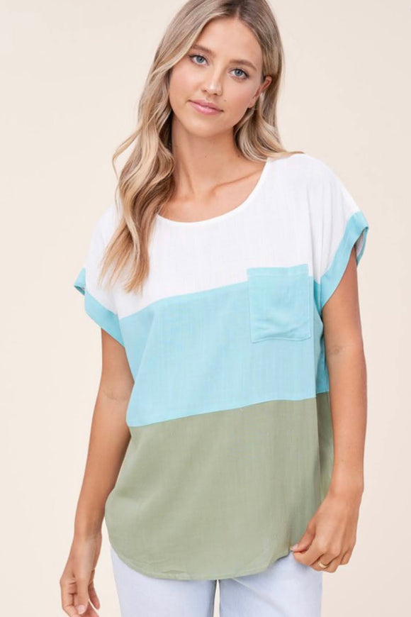 Mint+Olive Colorblock Top