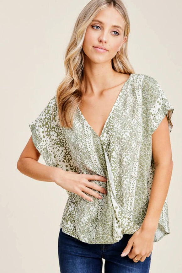 Sage Surplice Floral Top