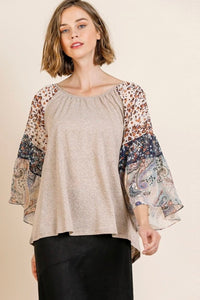 Paisley Sleeve Top | Oatmeal