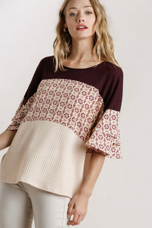 Floral+Wine Mix Top