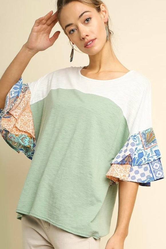 Sage+Paisley Colorblock Top